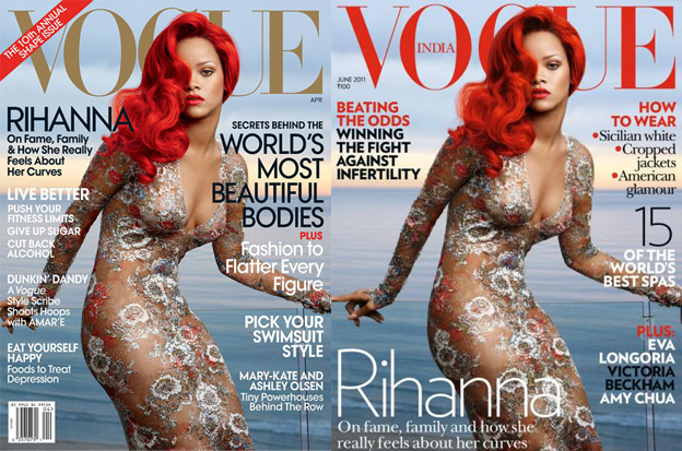 Rihanna Covers Vogue USA, later Vogue India