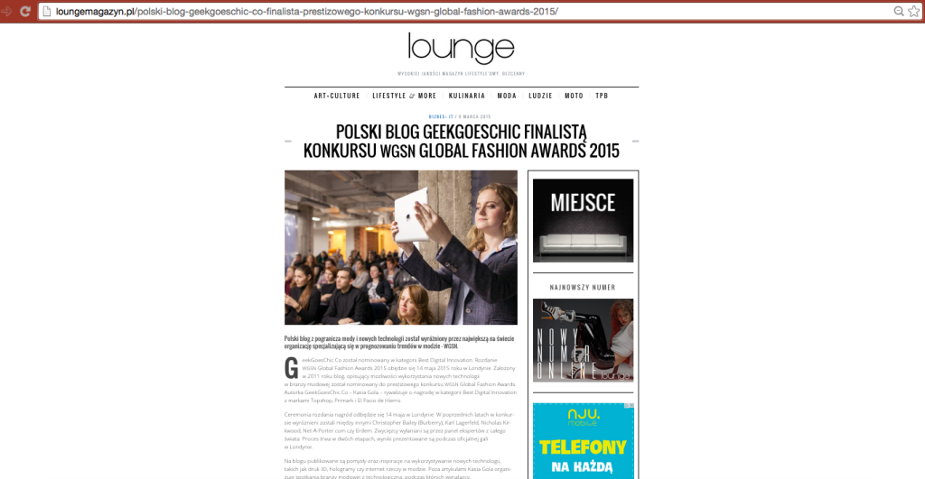 GeekGoesChic.Co shortlisted in WGSN Global Fashion Awards 2015