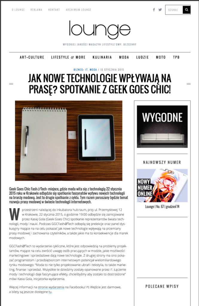 [Polish] Jak nowe technologie wpływają na prasę? Spotkanie z Geek Goes Chic! - Lounge Magazyn (20150115)