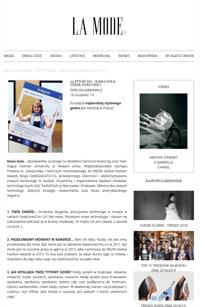 LaMode.Info 2015 GeekGoesChic Kasia Gola Interview
