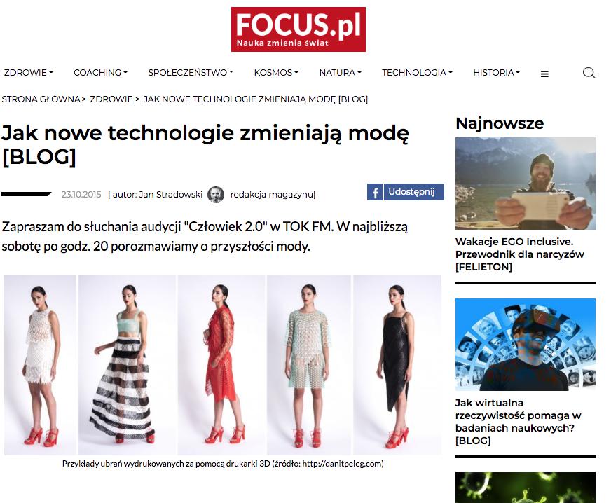 TOK FM Focus.pl jak technologie zmieniają modę - Czlowiek 2.0 2015