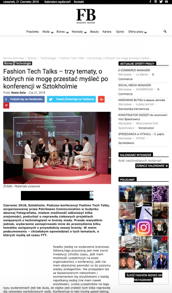 Kasia Gola about Fashion Tech Talks at FashionBiznes - article screen